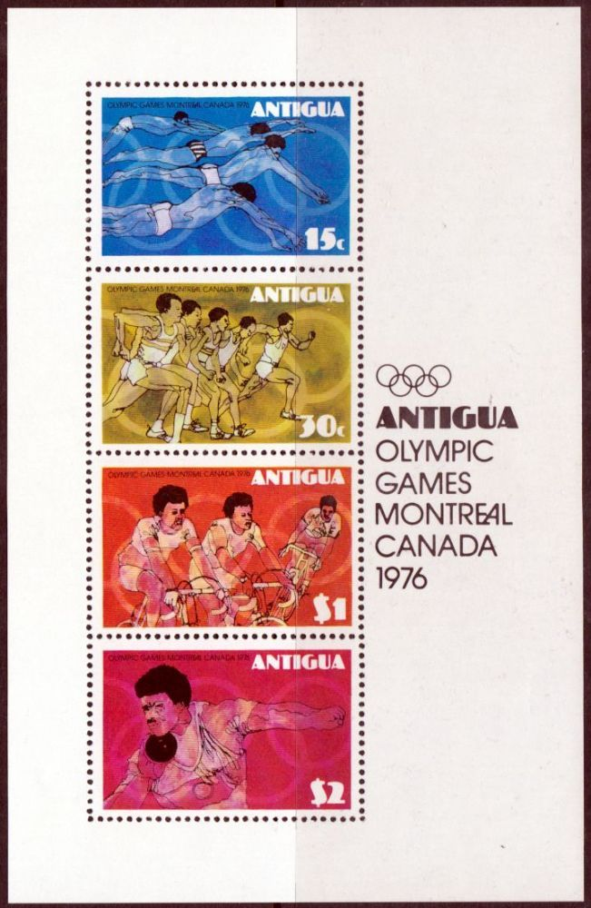 Antigua 1976 Montreal Olympic Games Miniature Sheet Fine Mint SG MS 502 Scott 437a Condition Fine MNH Only one post charge applied on multipule
