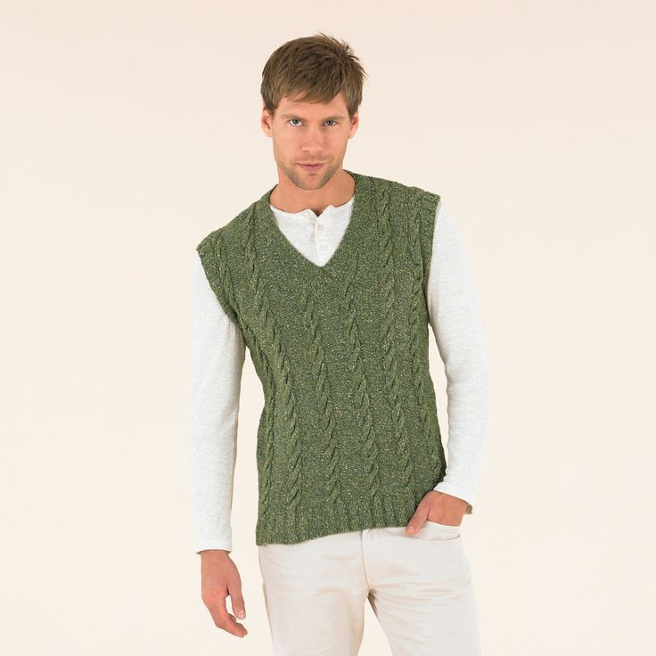 Give a nod to the classic sporting cricket sweater made modern in subtle green - from the Sublime Luxurious tweed double knitting book.