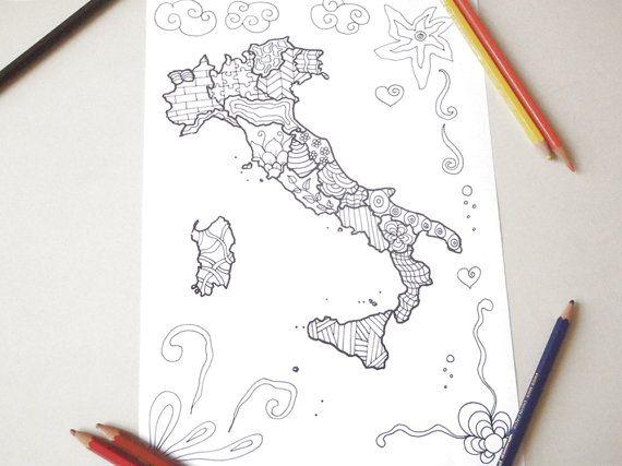 Erwachsener Färbung Landkarte Italien Zen Meditation digitales Design Lasoffittadiste sofortigen Download druckbare Tourist italienischen drucken