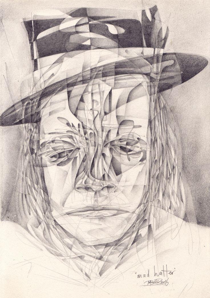 """The madhatter"" Marcel Bakker ( MBKKR ) 21 x 29,7 cm Pencil 2016"