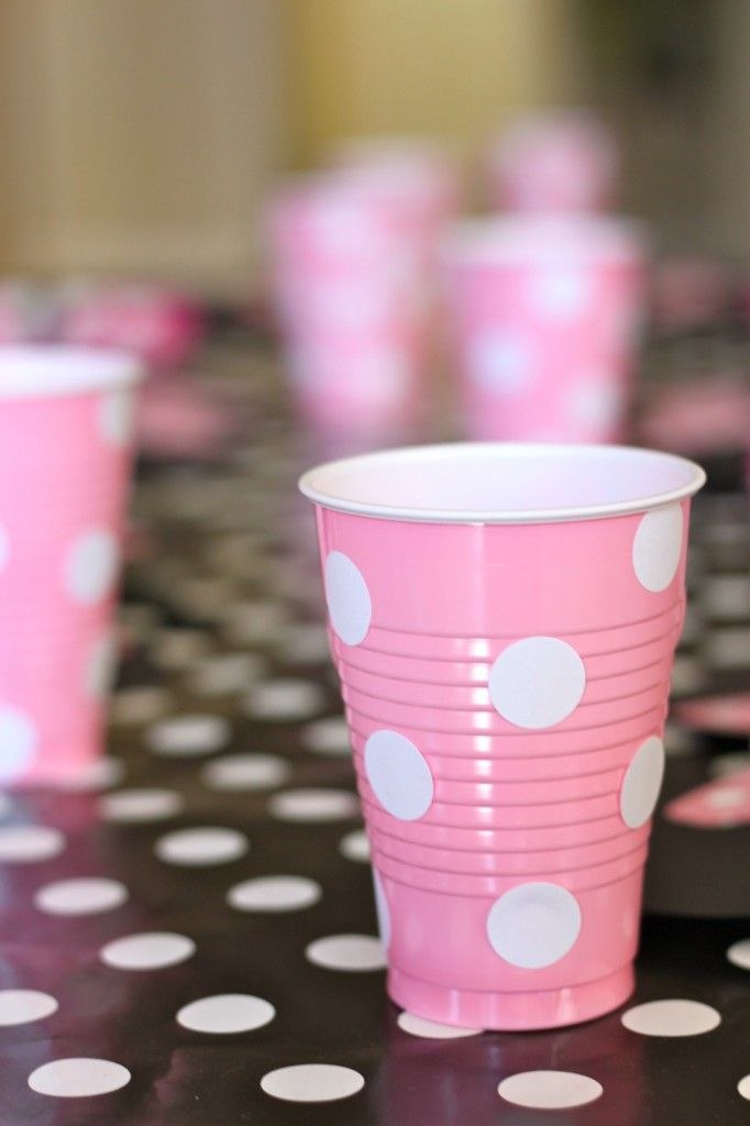 Pink solo cups and white dot stickers from staples! If you can't find a certain pattern of cups improvise.