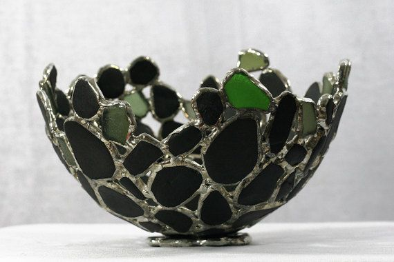 Green Sea Glass and Sea Coal Soldered Bowl  by SaraLeGrisCreations