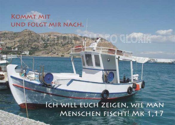 christliche Postkarte 84, Boote, Menschenfischer, Evangelisation - Bibel a la Carte - Christliche Karten