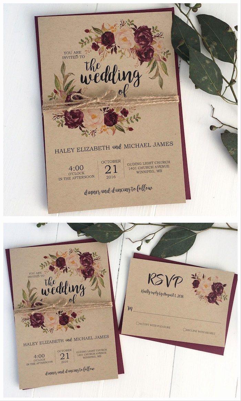 Einladungskarten Hochzeit Vintage Brauenes Papier
