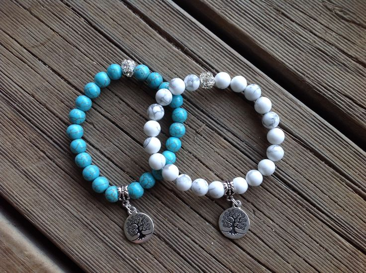 Turquoise and Howlite Gemstone Bracelets. Featured with our Tree of Life Tag. Very popular at the minute.
