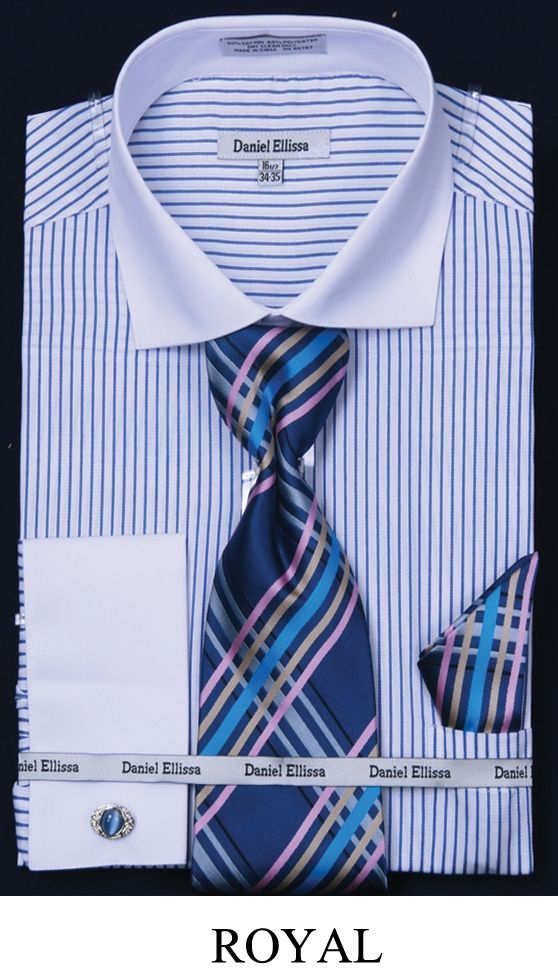 This Daniel Ellissa men's french cuff dress shirt comes in two tone stripe and includes tie, hanky and cuff links. These unique dress shirts are a great compliment to your new suit and are available in 60% cotton / 40% polyester fabric.