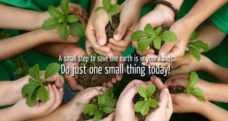 A Small Step To Save The Earth & Environment Is In Your Hands. Do Just One Small Thing Today! Happy ‪#‎WorldEnvironmentDay‬ To All!!