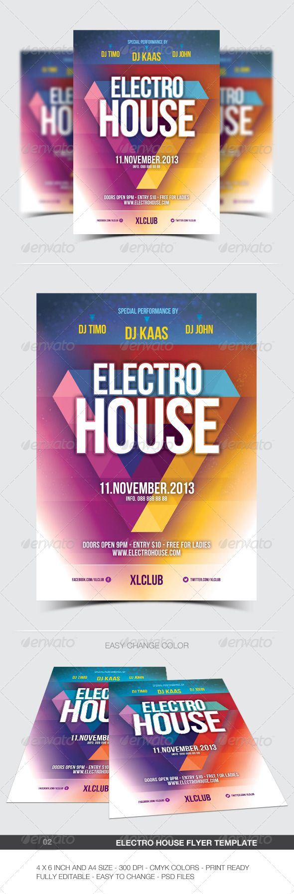 Electro House Party Flyer Design Template- 02