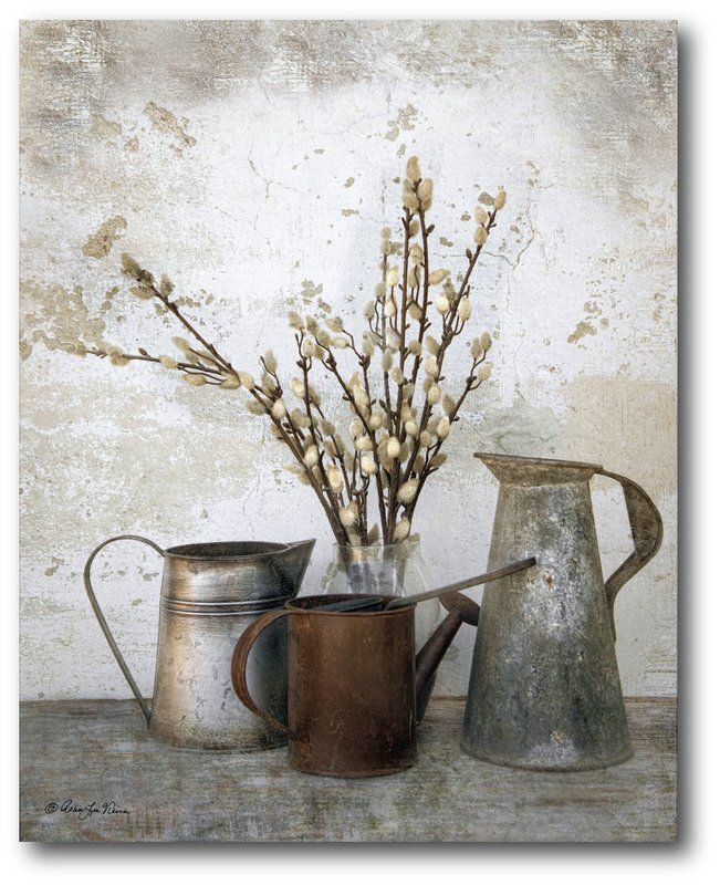 Three Watering Cans Canvas Print 20'' H x 16'' W x 1.5'' D   Inspire farmhouse style in your living room or den with this rustic canvas print, showcasing a watering can motif and floral details.
