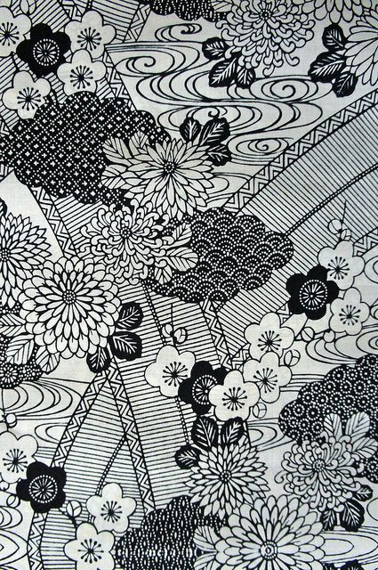 Japanese Yukata fabric in black and white | Botanical ...