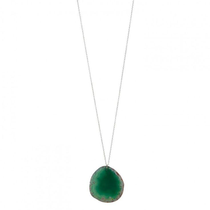 Sautoir argenté pierre semi-précieuse verte