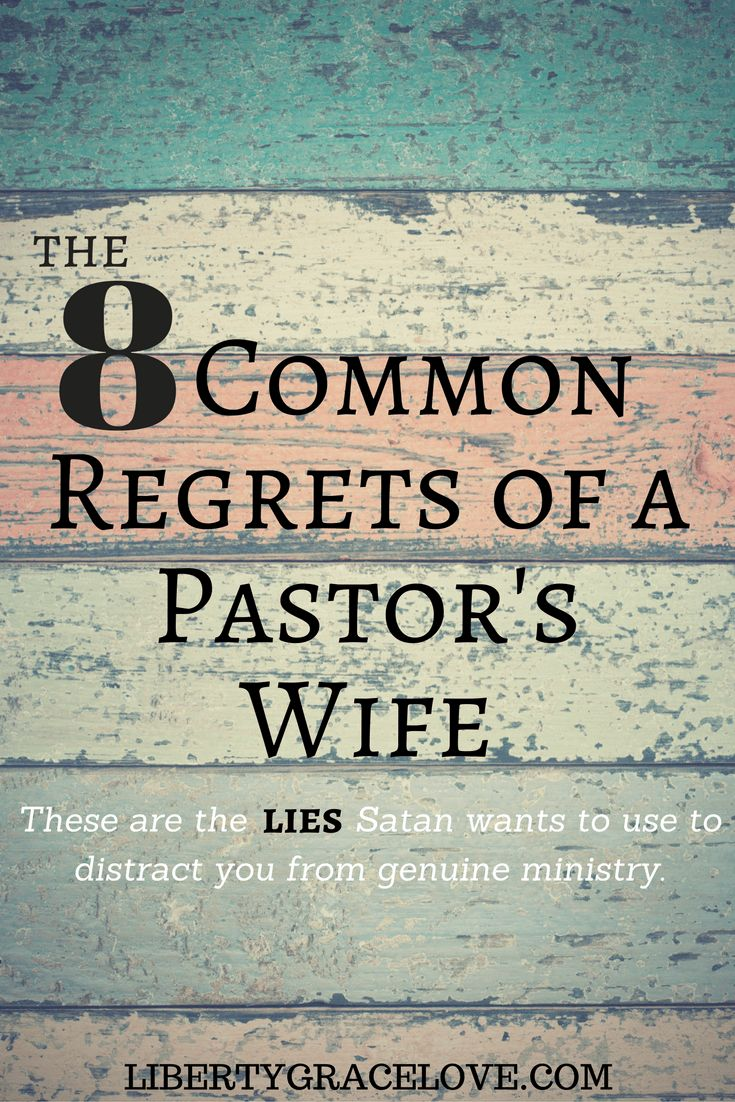 Pastor's wives are real people, despite their often padded front pew location. Pastor's wives..you don't have to live in regret. These are lies that Satan wants to use to distract you from genuine ministry. Scripture has lots to say about these regrets. Biblical advice from this Pastor's Wife. I have some of these regrets and want to offer hope and support for those women who are married to a pastor.