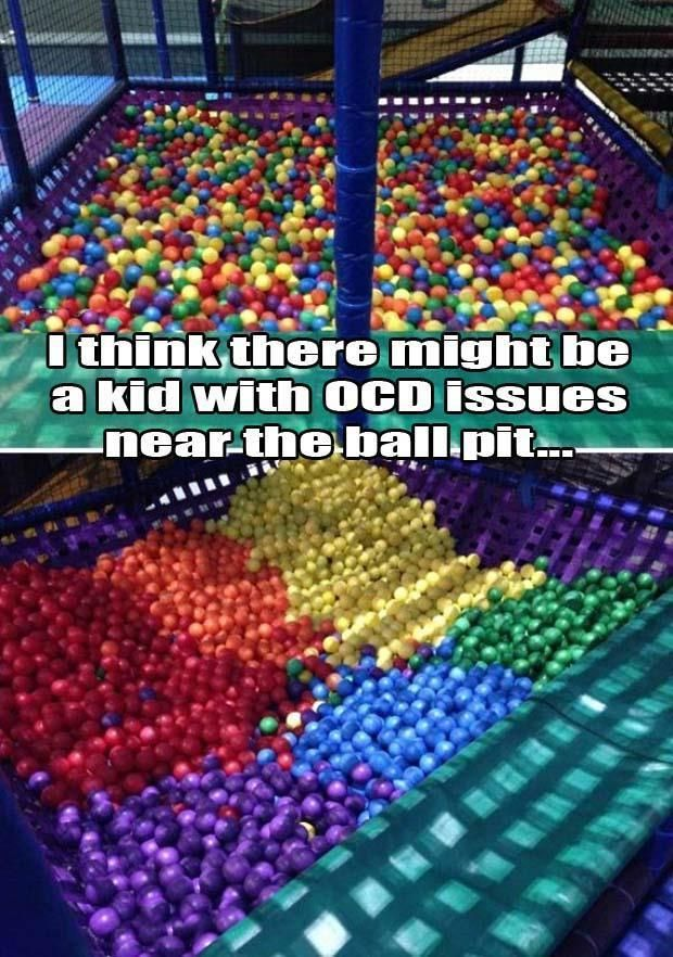 Funny Pictures Of The Day - 64 Pics<<<BUT THEY DIDNT QUITE GET IT RIGHT THERE ARE PURPLE BALLS IN THE RED PART AND YELLOW BALLS IN THE BLUE PART AND WHERE THEY ALL MEET THEY'VE MIXED UGH