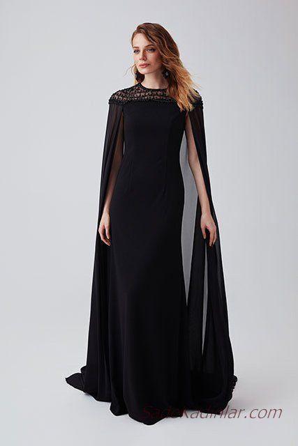 0104544bf02fb 2019 Abiye Elbise Modelleri Siyah Uzun Güpür Dantelli Pelerin Detaylı