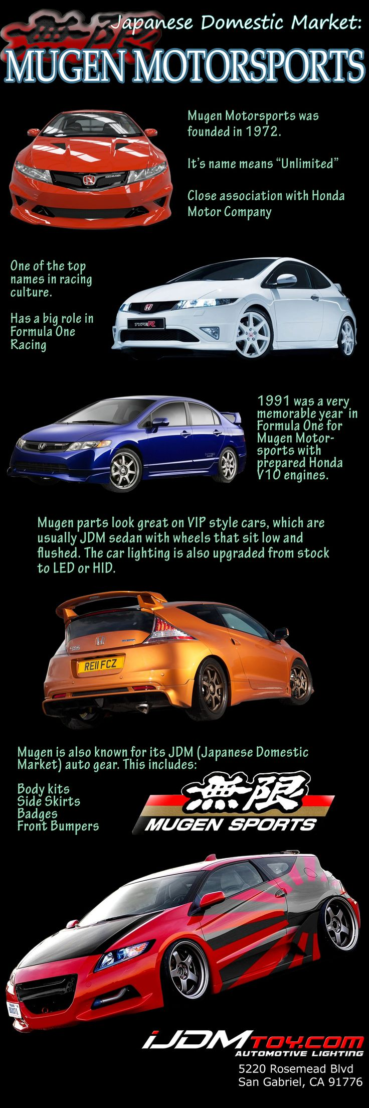 Mugen Motorsports is very well known in the JDM (Japanese Domestic Market) and is well associated with Honda.   #Mugen #Motorsports #MugenMotorsports #JDM #Japan #Japanese #Honda #HondaMotors #iJDMTOY #Info #Infographics #pictorial #LED