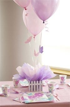 Jewish Baby Naming Butterfly Decorations includes Centerpiece with Picket Fence, Balloons with Butterflies (plus Jewish Star Mylar Balloon - not shown) and Personalized Butterfly & Jewish Star Confetti for the table | SetToCelebrate