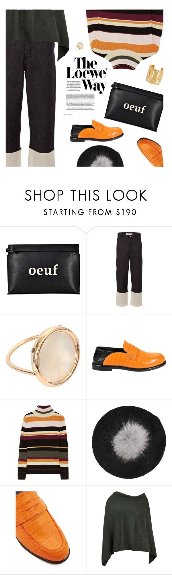"""Winter street style"" by magdafunk ❤ liked on Polyvore featuring Loewe, Ginette NY, Paul & Joe, Inverni, Eric Bompard, Sylvia Toledano, beanies, statementshoes, poncho and stripedsweater"