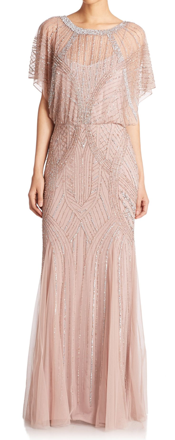 Blush beaded gown #artdeco #20s #gatsby