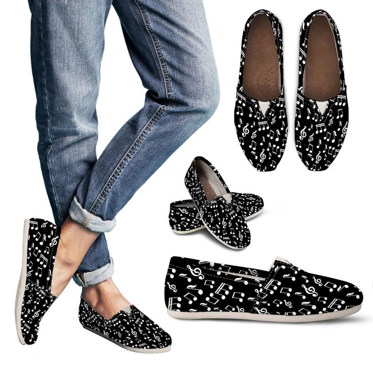 Just launched! Womens Casual Shoes. Black Music Note Design http://oompah.shop/products/womens-casual-shoes-black-music-note-design