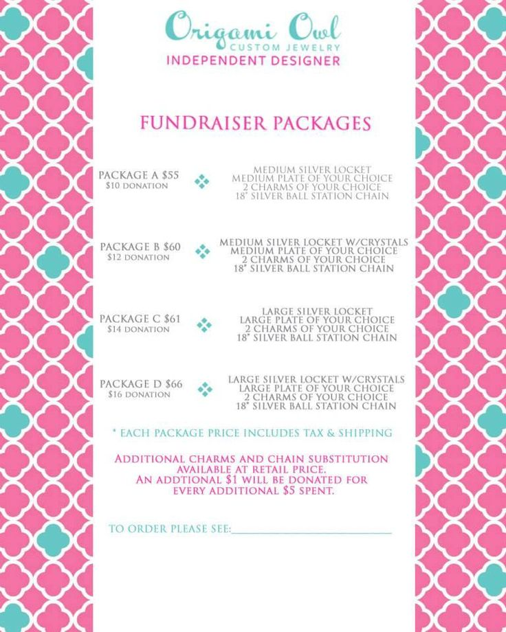 Why not do an Origami Owl Jewelry Bar to raise $ for your favorite fundraiser? Contact me today www.kreid.OrigamiOwl.com