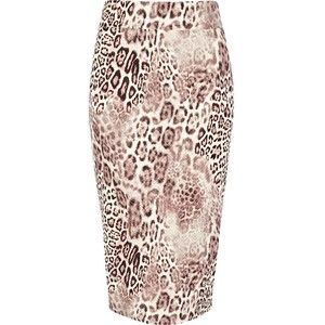 River Island Beige animal print textured tube skirt