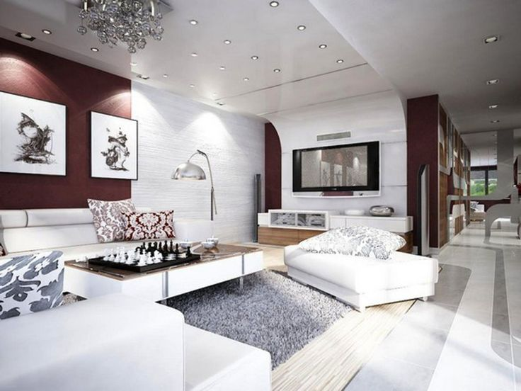 Apartment, White Fabric Sofa Two White Art Paper Paints Long Modern Coffee Table White Fabric Pouffe Metal Arch Lamp Recessed Downlights Grey Fur Rug Modern Chandelier White Console: Best Designing Ideas For Your Studio Type Apartment
