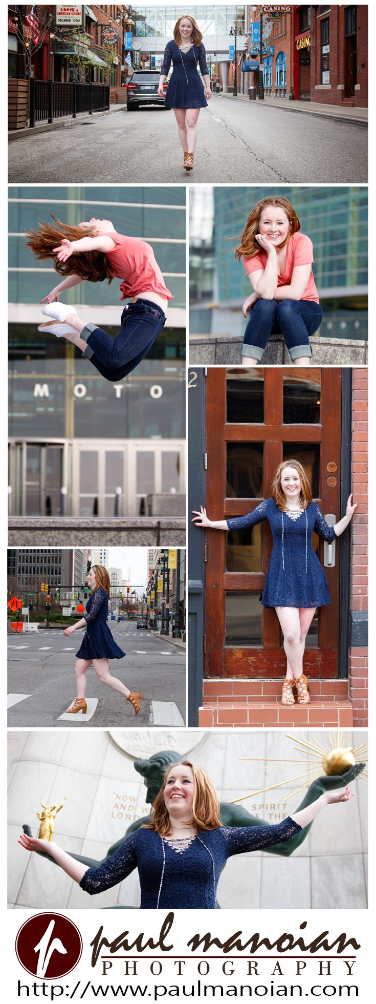 Senior pictures pose ideas for girls sitting on steps, walking in streets and more - Best Detroit Photographers