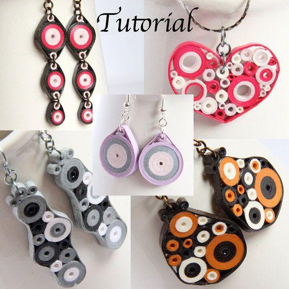 Tutorial per carta gioielli Quilled PDF Retro cerchi disegni di ciondolo e orecchini