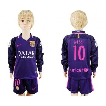 Camisetas Futbol Niños Barcelona Messi 10 Segunda Equipación Manga Larga 2016-17
