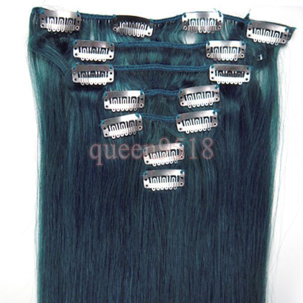 """15""""18""""20""""22""""7Pcs Clip In/On Remy Real Human Hair Extensions Straight #Blue"""