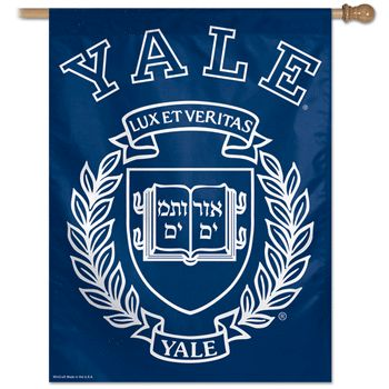 Buy a Yale University House Flag from Heartland Flags! Free first class shipping available on all orders! Officially licensed College Banner Flag. Size: 27 x 37. Designed to hang vertically from an ou
