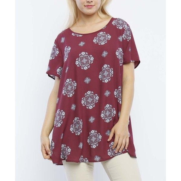 MISIA PLUS Berry & Chambray Arabesque Tunic ($15) ❤ liked on Polyvore featuring plus size women's fashion, plus size clothing, plus size tops, plus size tunics, plus size, long chambray tunic, purple plus size tops, long tops and plus size chambray tunic