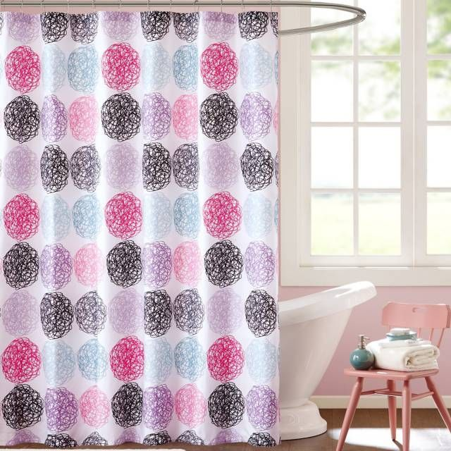 Home Essence Apartment Brittany Microfiber Shower Curtain Multicolor