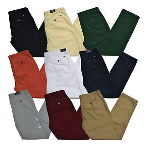 Tommy-Hilfiger-Chinos-Mens-Custom-Fit-Flat-Front-Pants-Flag-Logo-Bottoms-New-Nwt