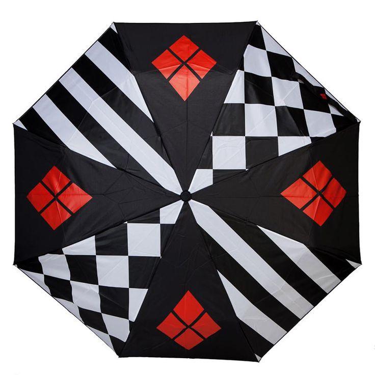 "Harley Quinn Compact Umbrella  This umbrella has a 37"" diameter and measures 9.5"" when closed, 22"" when extended.  #HarleyQuinnGifts #HarleyQuinnGiftIdeas #HarleyQuinnFan"