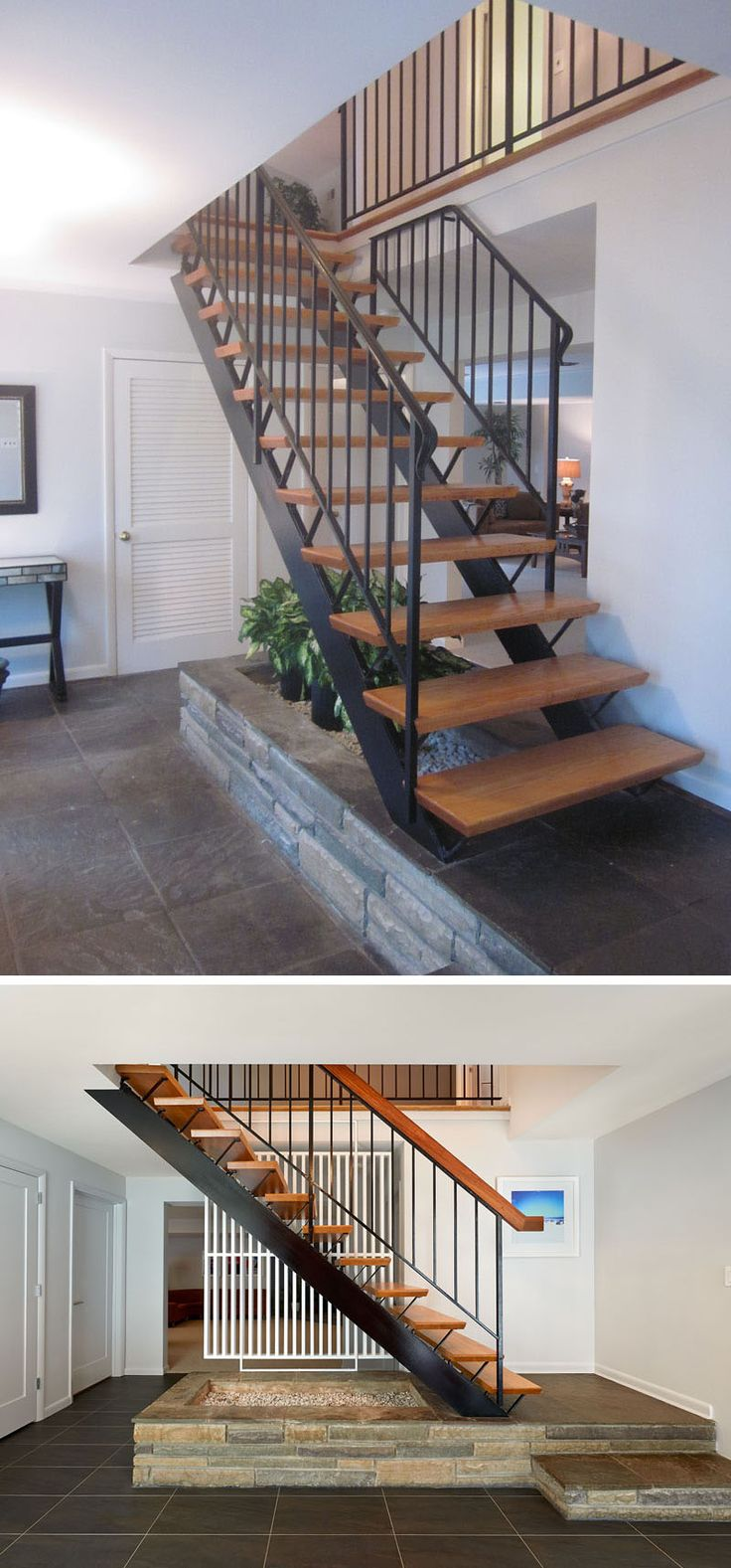 BEFORE & AFTER - This staircase leading to the second floor of the home is an example of mid-century craftsmanship. Dark grey tile was added to accent the staircase's style. The original treads and railing were left, and the handrail was replaced with the wood cap that the client requested for a more authentic finish.