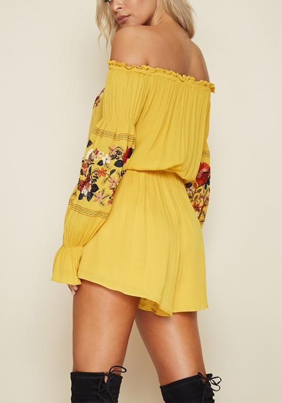 ed4595b97f Yellow Floral Ruffle Embroidery High Waisted Off Shoulder Homecoming  Mexican Boho Short Romper Jumpsuit