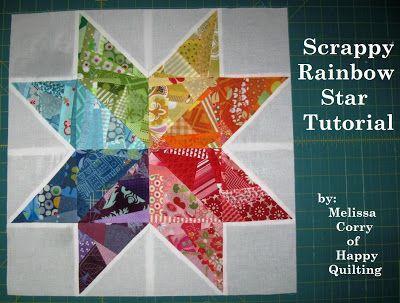 Happy Quilting: Scrappy Rainbow Star Block Tutorial