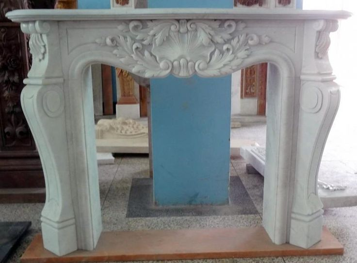 Details about Hand Carved French Design White Marble Fireplace Mantel #4282