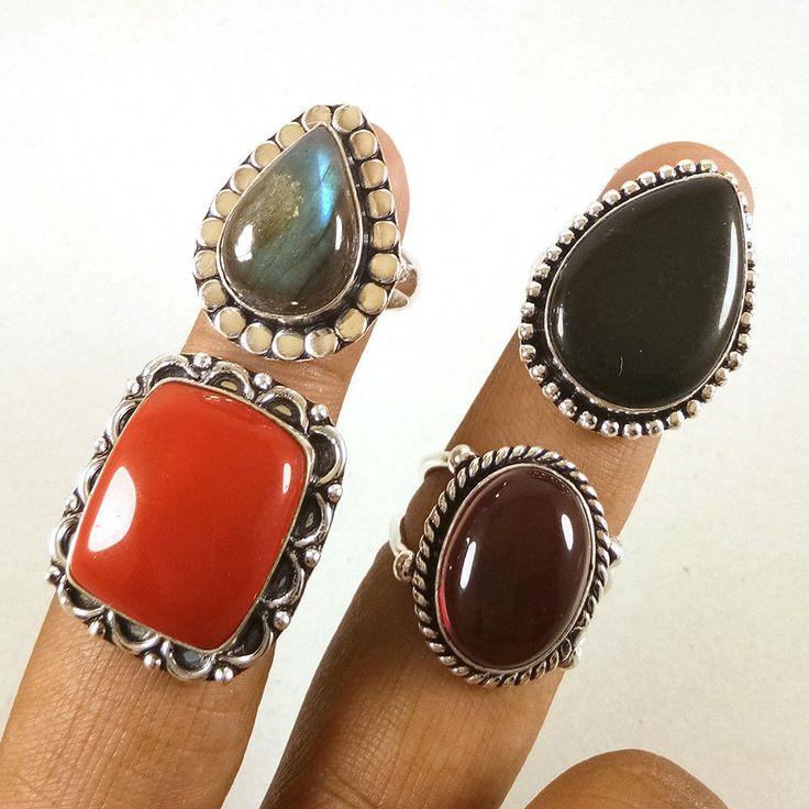 Christmas Offer ! Labradorite & Garnet Gemstone 925 Silver Plated Rings Jewelry. #Gajrajgems92_9 #Rings