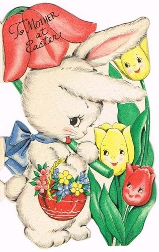 Easter Card to Mother Bunny Anthro Flower Face Tulips Bunny Hallmark Vintage | eBay