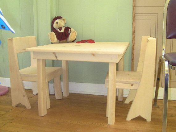 Children's Table and chairs wooden by CanadianWoodenCrafts on Etsy