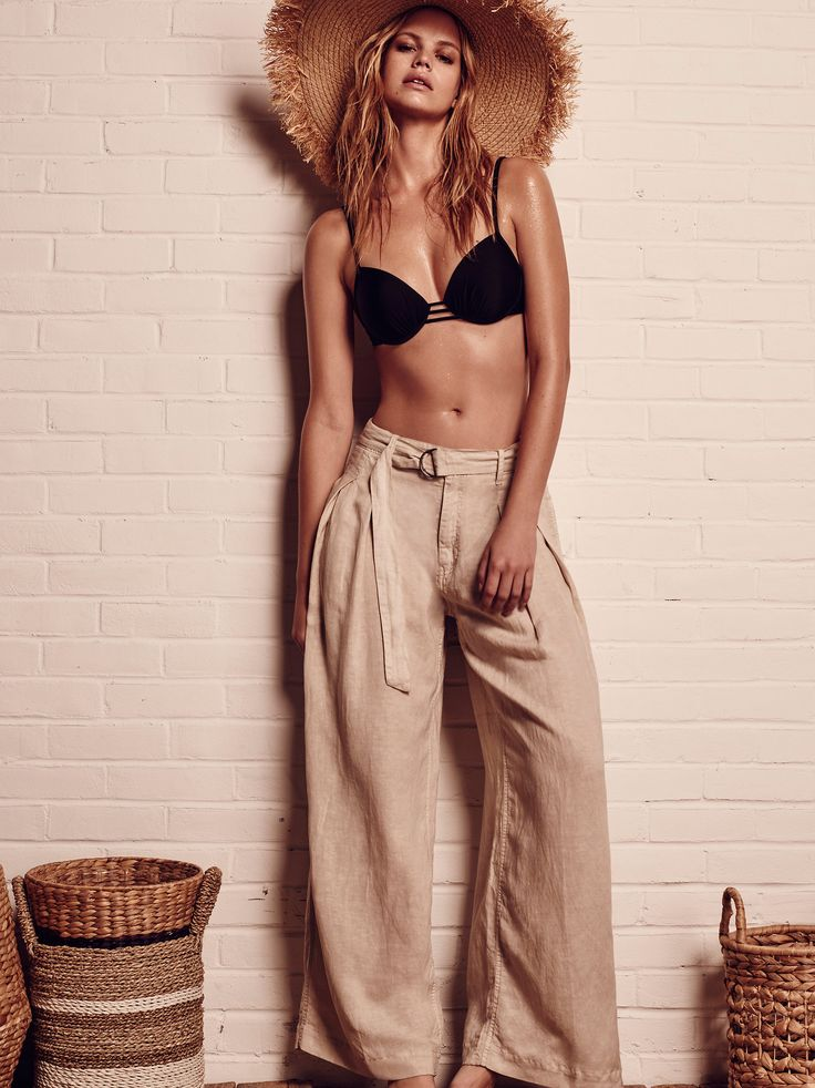 Grazin' In The Grass Pant | Ultra relaxed wide leg pant featuring an effortless belt at the waist and an easy breezy semi-sheer fabrication. * Side pockets and faux back slit pockets * Zipper fly