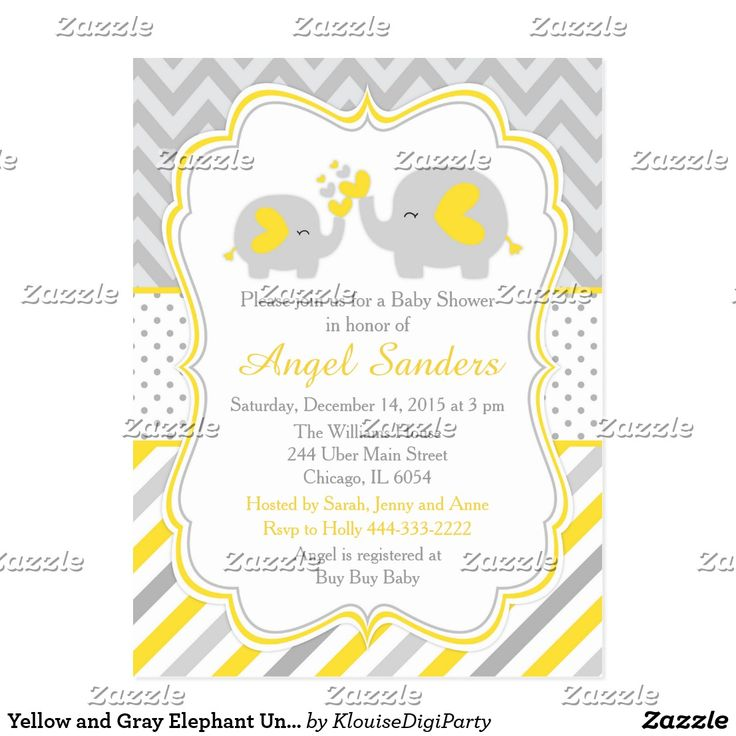 Yellow and Gray Elephant Unisex Baby Shower Postcard