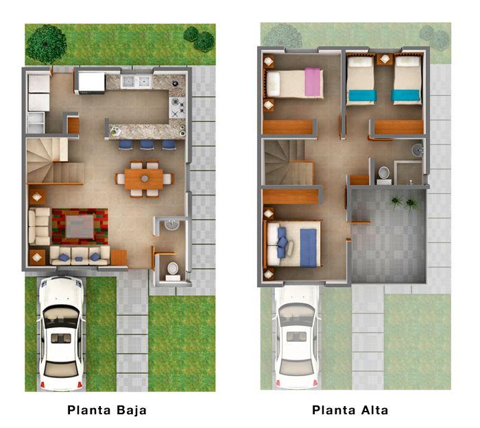 Planos de casas y plantas arquitectónicas de distribución de interiores de casas y departamentos  para tomar ideas para remodelar o construir tu vivienda.