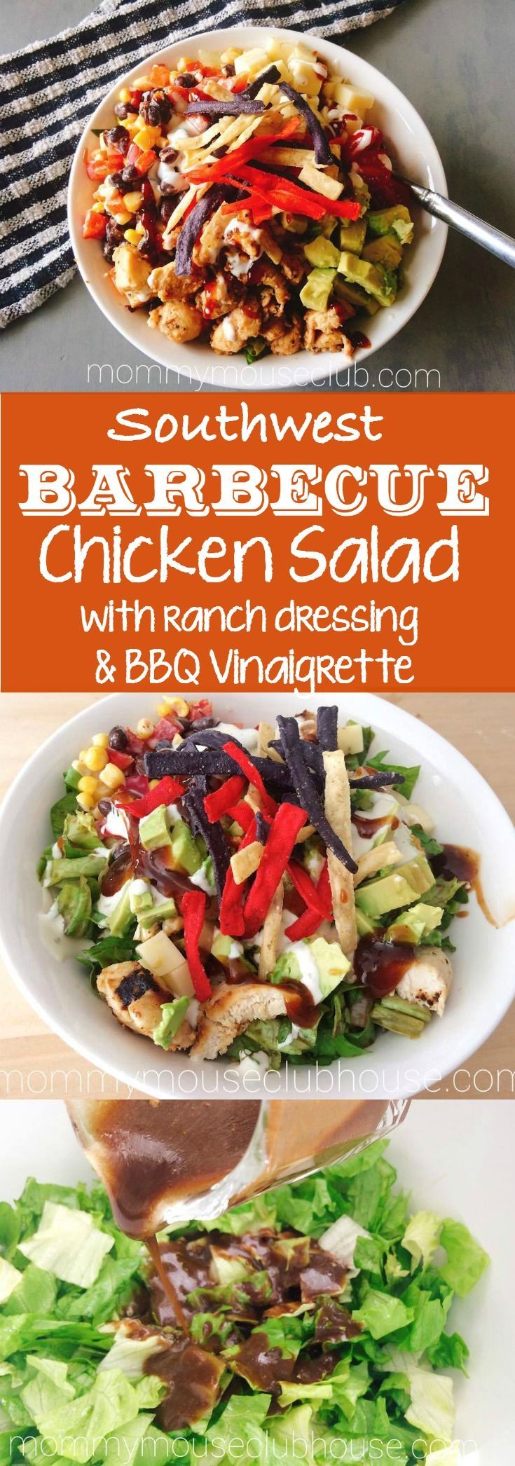 Fiesta Ranch Chicken Salad with BBQ Vinaigrette is a hearty and flavorful combination of ingredients that will guarantee this salad is one that you will make over and over again. Creamy and spicy ranch, juicy grilled chicken and fresh vegetables are all complemented by the tangy hint of BBQ sauce from the vinaigrette. Enjoy!