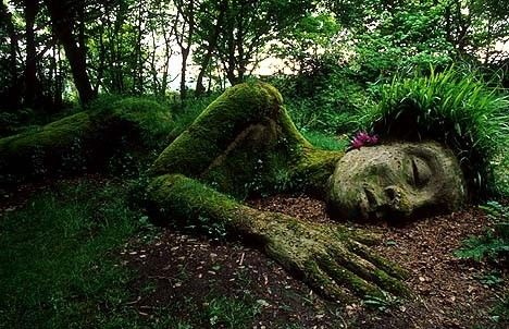 """The """"Grass Lady"""" from Heligan Gardens, Cornwall, England."""