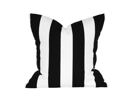 "18"" x 18"" Designer Pillow Cover / Decorative Throw Pillow / Accent Cushion Cover / Pillow Case (Black and White Stripes)"