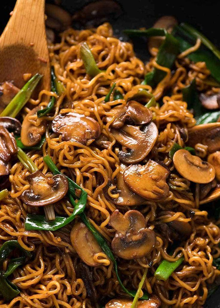 Asian Mushroom Ramen Noodles | Recipe | Food recipes