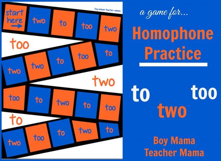 Boy Mama Teacher Mama  Homophone Practice to, too, two